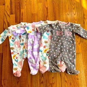 Baby Girls 3 Month Carter's 4 Footie Pajama Bundle